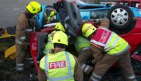 Woman cut free after a road traffic collision on A701