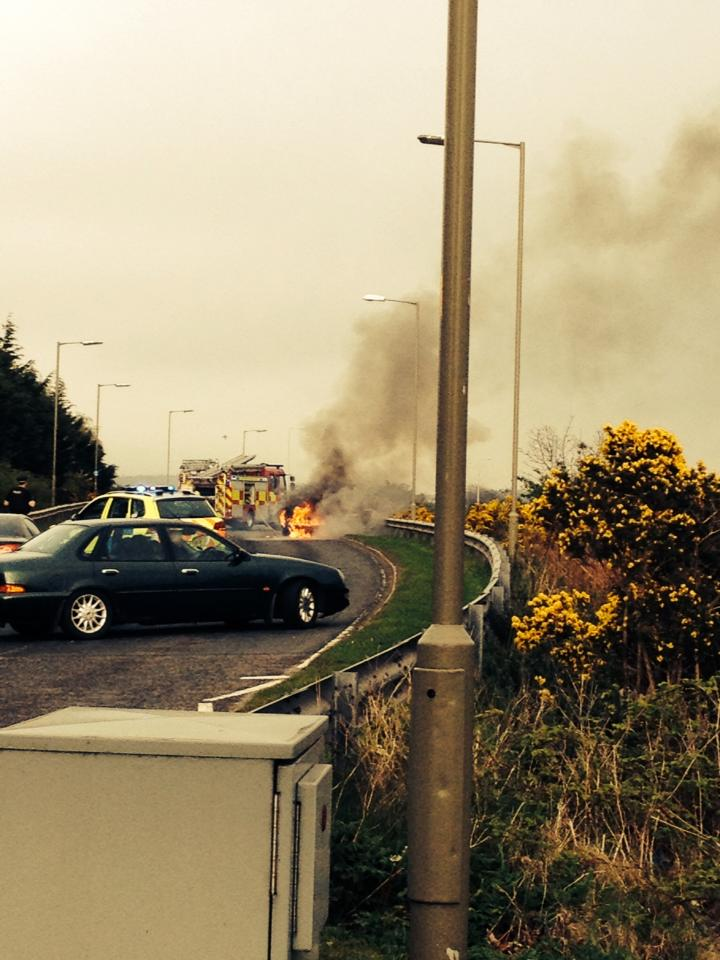 Car on fire during last night's rush hour in Inverness