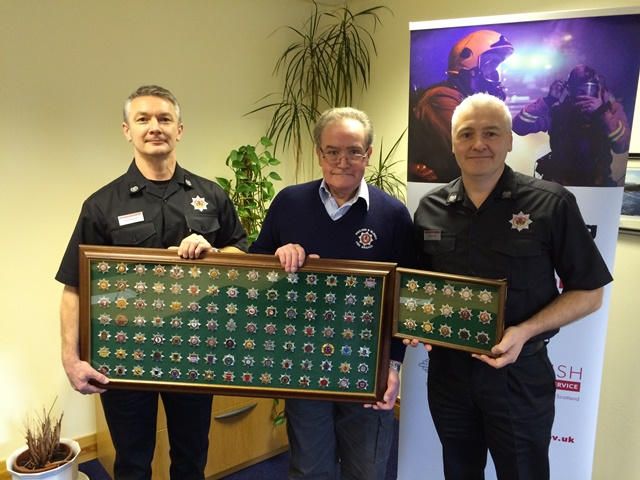 Former Nairn retained firefighter donates cap badge collection to SFRS