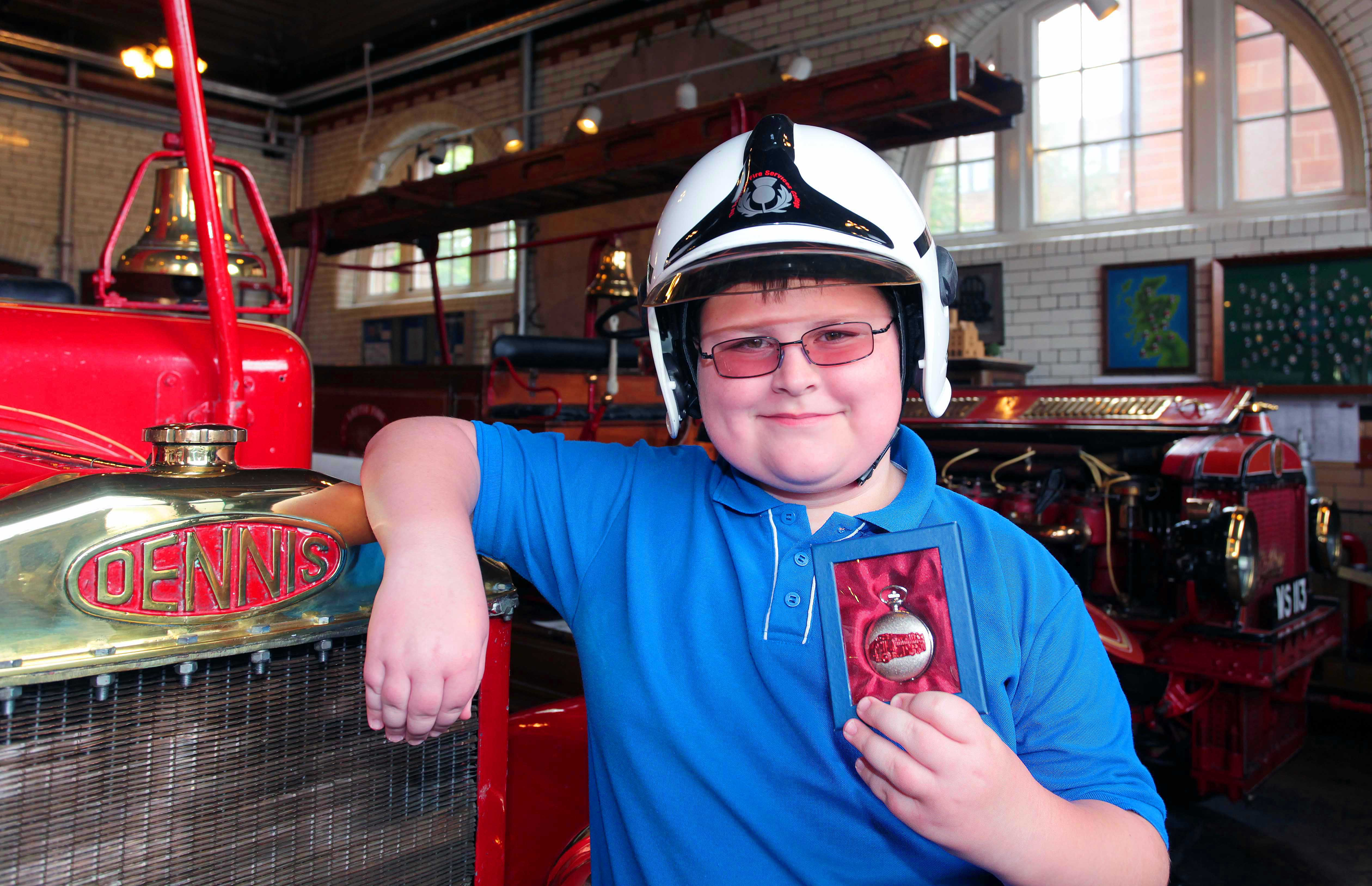 Robert and Cameron remember great-grandfather and firefighter at Museum of Fire, Edinburgh