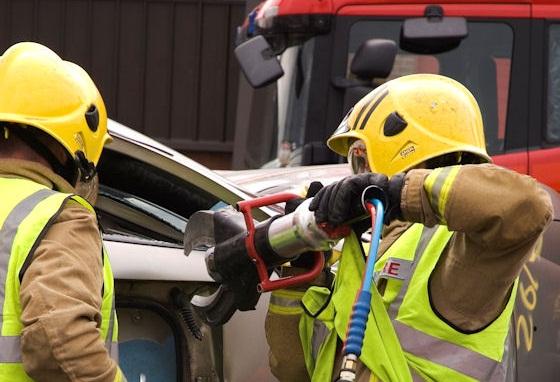 Rescue after cars crash outside Lanark Fire Station