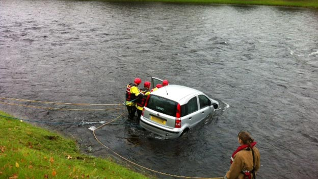 Water rescue crews called to a car in the River Ness