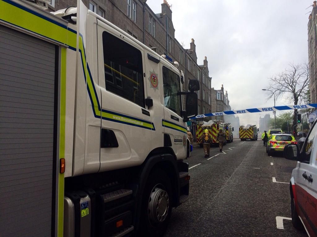 Eight pump fire in Rosemount Place, Aberdeen