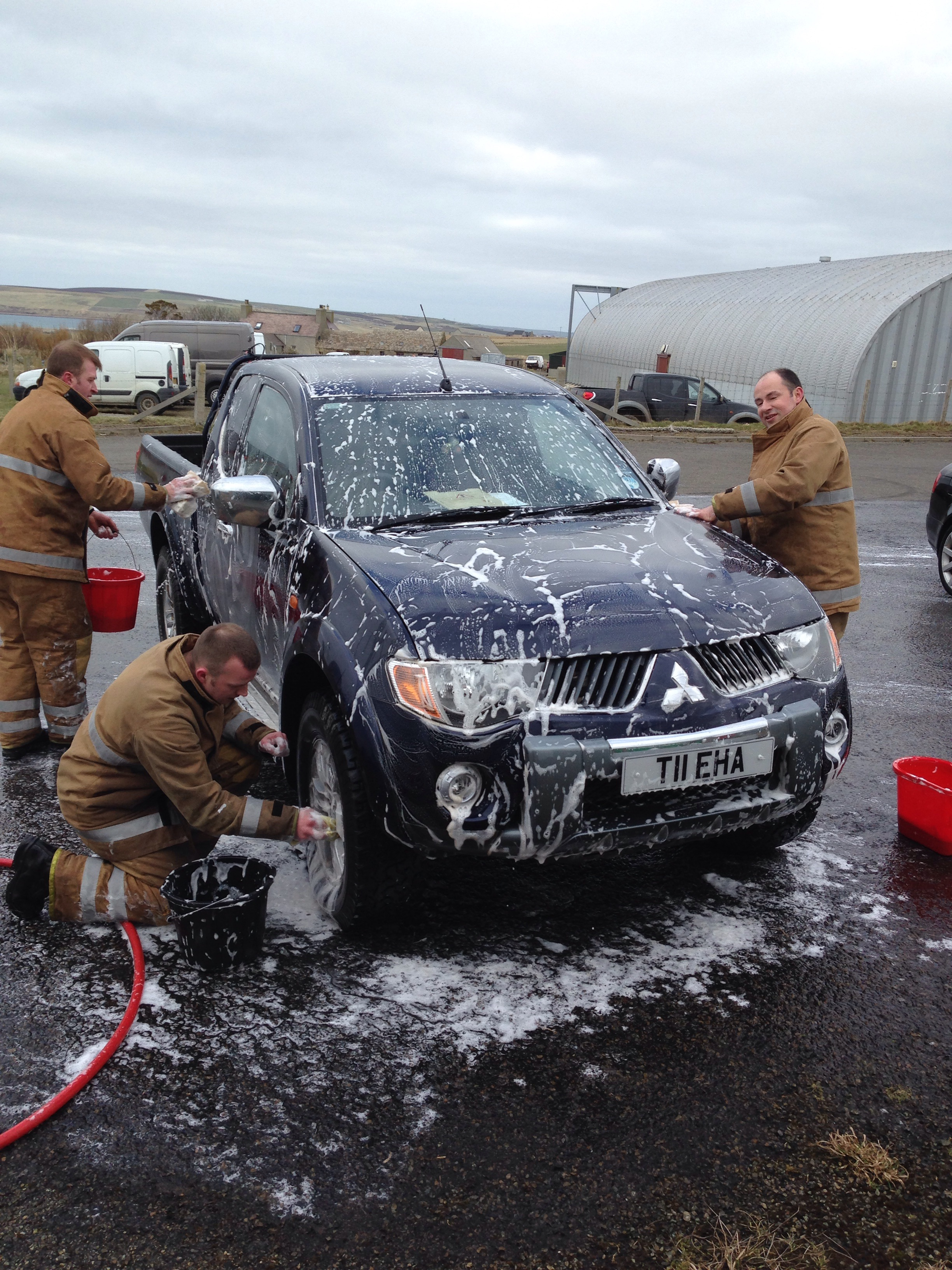 St Margaret's Hope station in Orkney raised over £500 for charity during National Car Wash Day