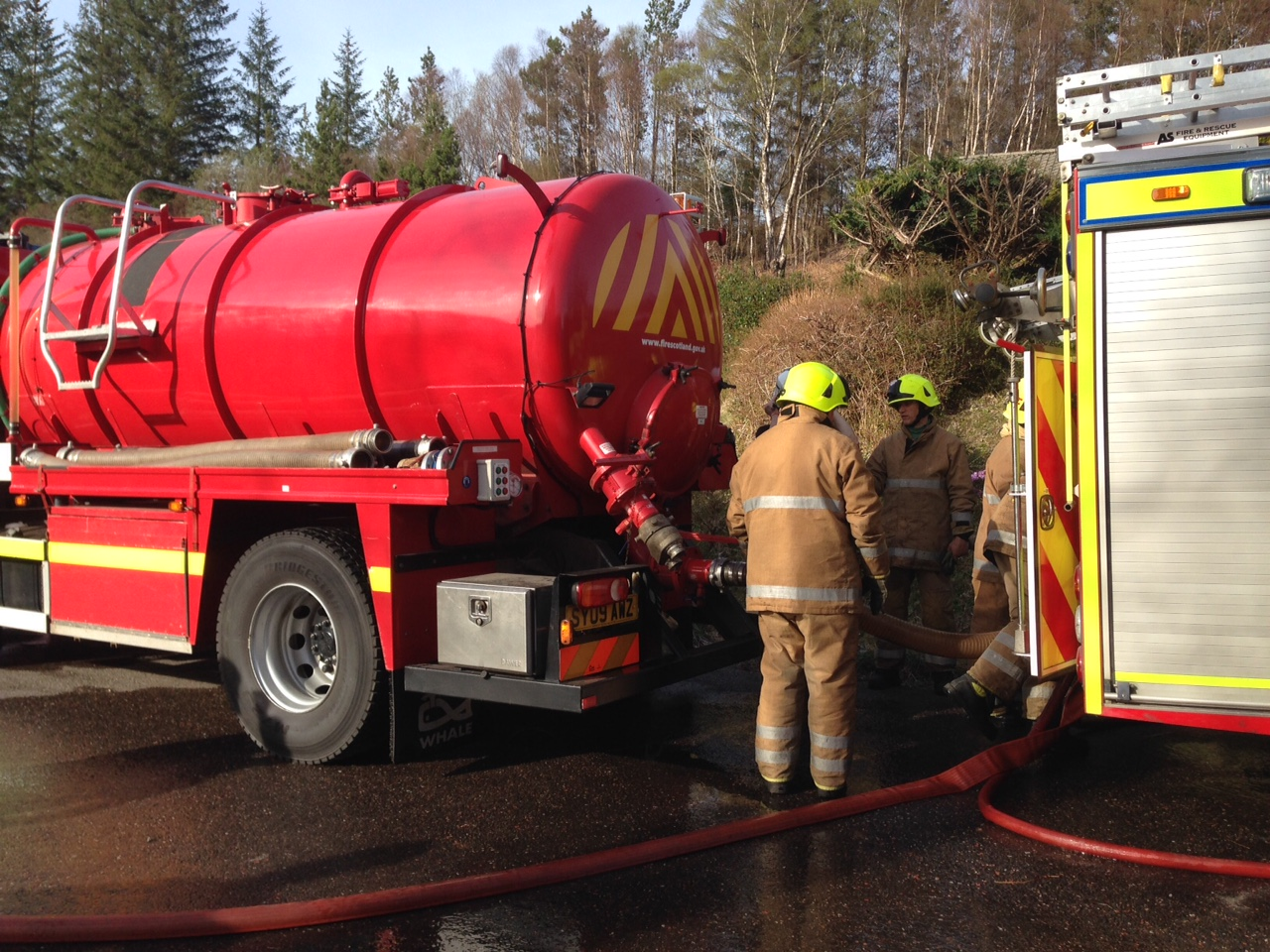 SFRS dealing with large shed fire at Gairlochy Holiday Park, Spean Bridge