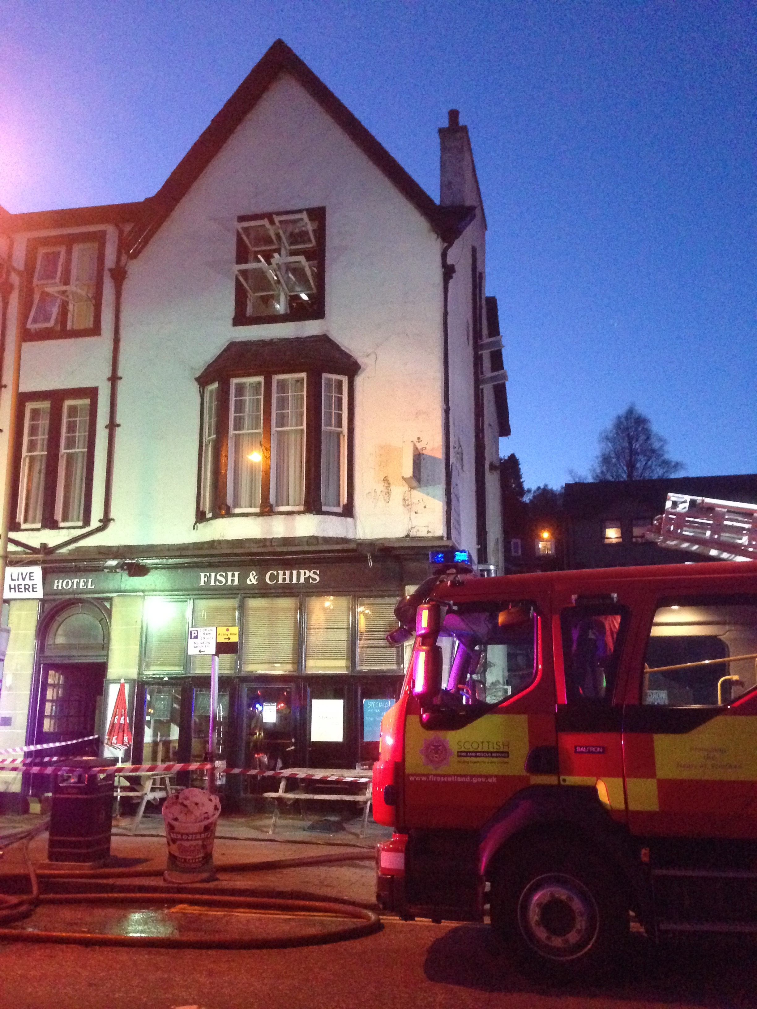 Firefighters attend hotel fire in Aberfoyle