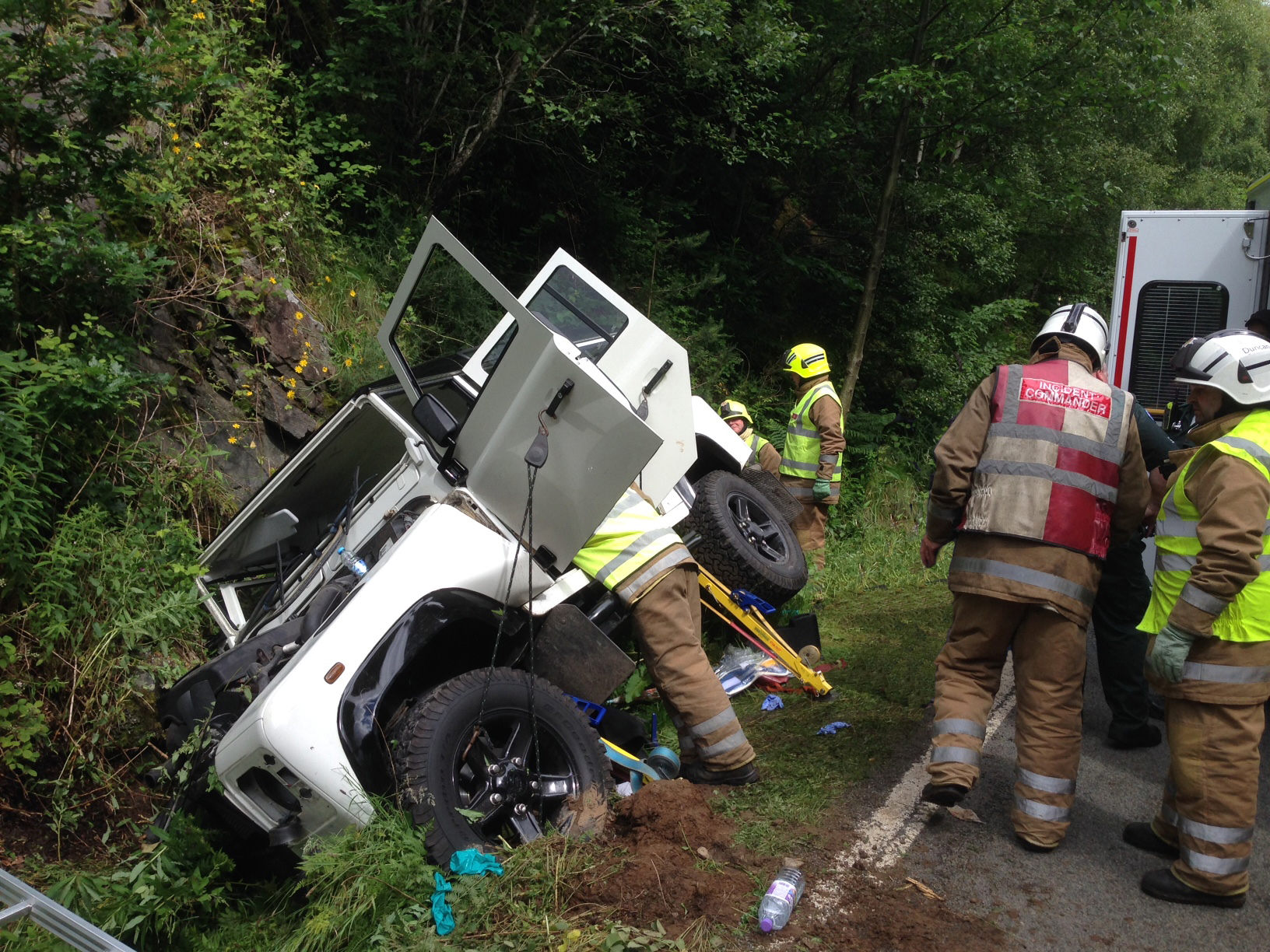 SFRS freed two people from vehicle following A87 crash