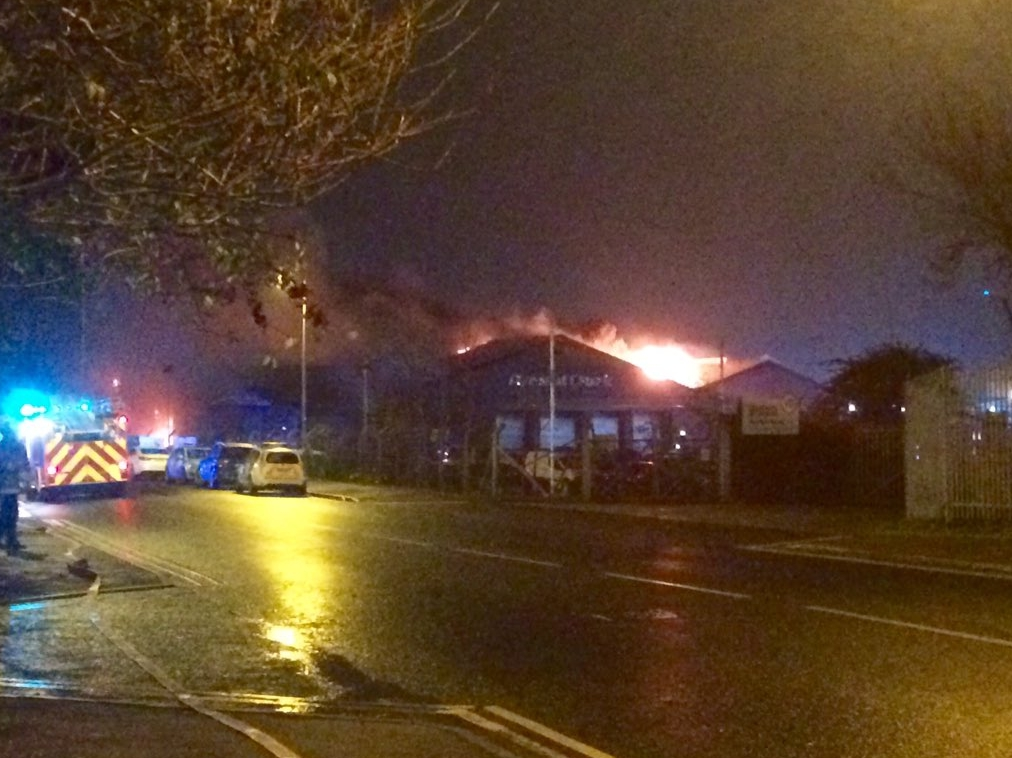 Crew battle major fire at Aberdeen garage