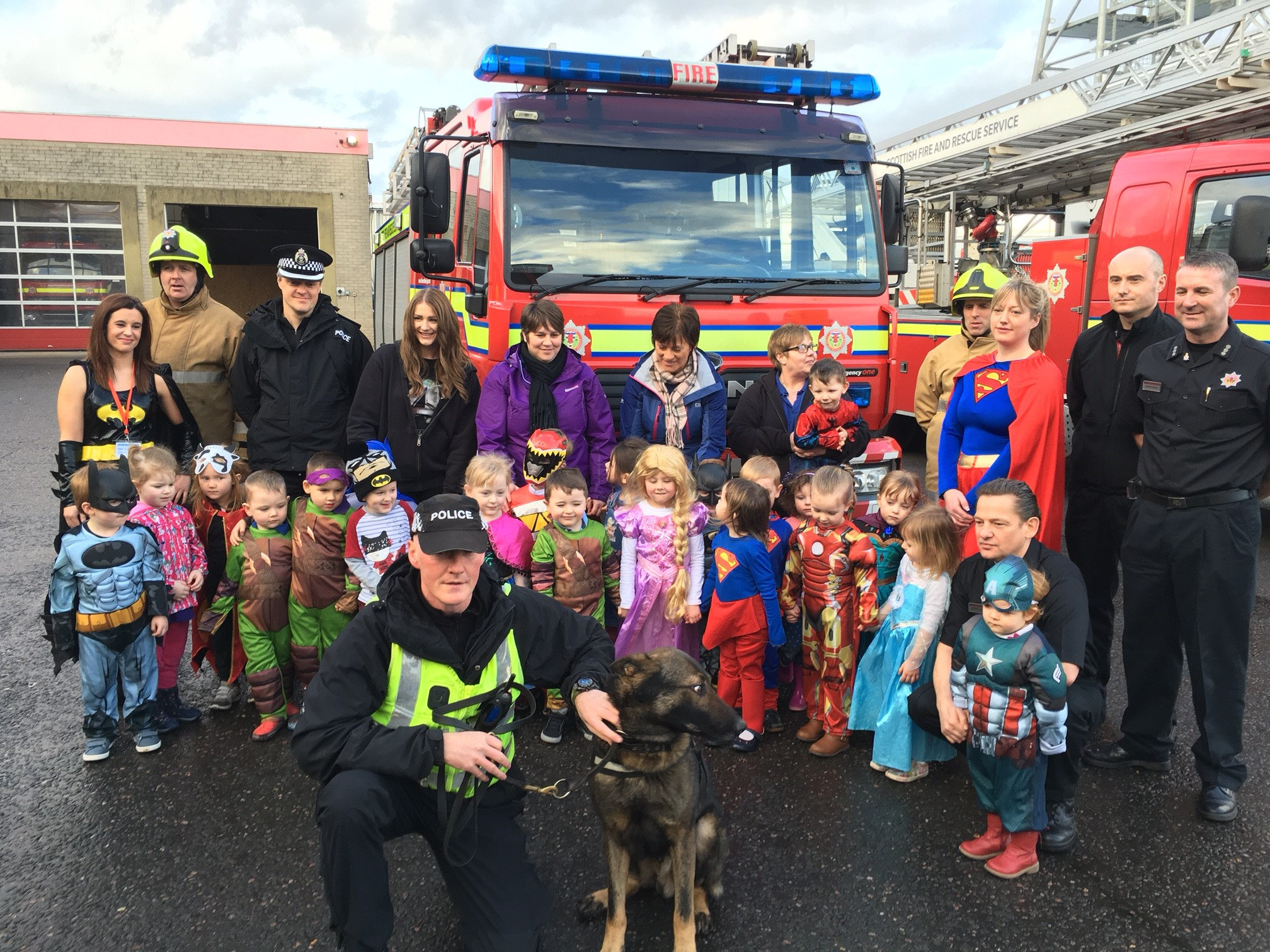 SFRS and Police Scotland support child abuse prevention charity on 'Highland Hero Day'