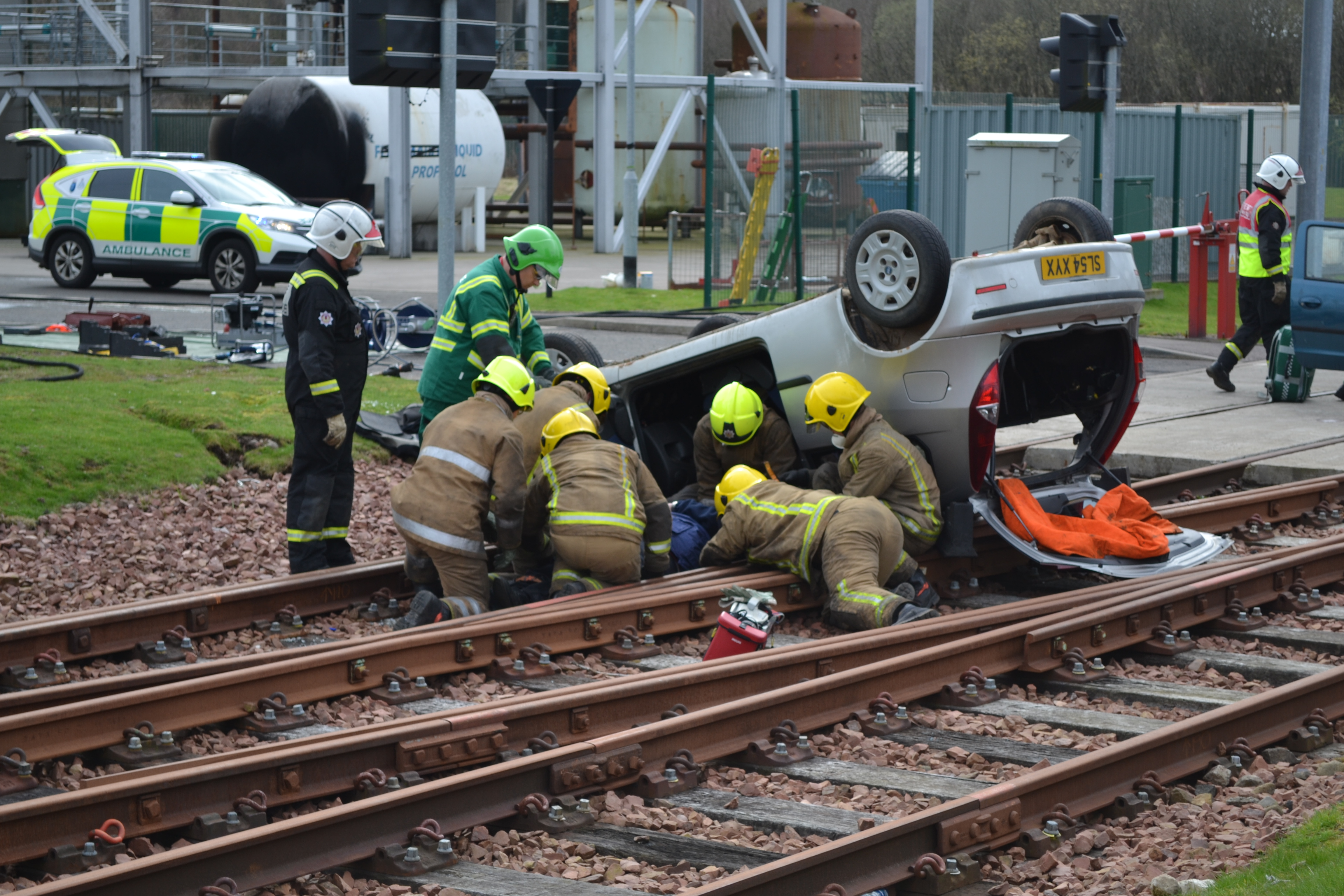 Trainee firefighters in disaster scenario exercise